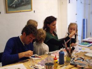 schilderworkshop, samen schilderen, meerluik, haarlem, vrijgezellen, familie-activiteit