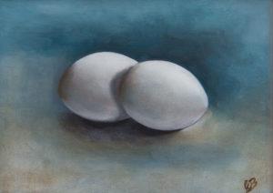 stilleven, schilderkunst, realisme, olieverf, eieren