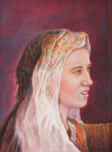 portret, olieverf, schilderij, schilderkunst, sluier