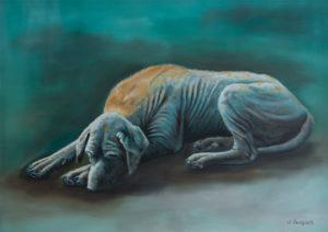 dierenportret, dierenschilderij, olieverf, Kromme Gevel, hond, Azië