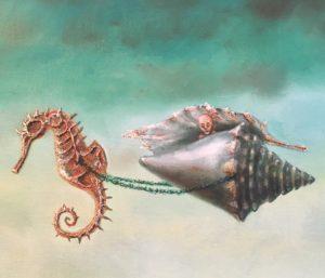 De Kromme Gevel verkoopt olieverf schilderijen, onderwerpen met symboliek, fantastisch realisme, magisch realisme, schilderkunst, symbolisme, zeepaardje