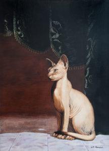 dierenportret, dierenschilderij, olieverf, Kromme Gevel, sphinx, kale kat