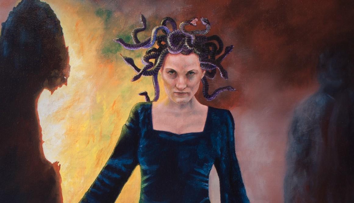 mytische voorstelling van Medusa, olieverf schilderij, galerie de Kromme Gevel Haarlem