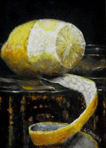 stilleven, schilderkunst, klassiek realisme, olieverf, citroen