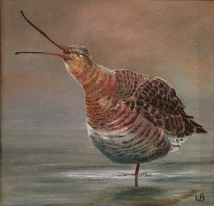 dierenportret, snip, houtsnip, dierenschilderij, olieverf, Kromme Gevel