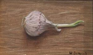 stilleven, schilderkunst, realisme, olieverf, knoflook