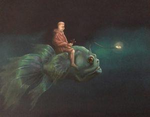 De Kromme Gevel verkoopt olieverf schilderijen, onderwerpen met symboliek, fantastisch realisme, magisch realisme, schilderkunst, symbolisme, licht zoeken, monnik