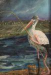 De Kromme Gevel verkoopt olieverf schilderijen, onderwerpen met symboliek, fantastisch realisme, magisch realisme, schilderkunst, symbolisme, reiger, ooievaar